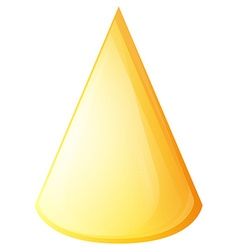Yellow cone on white vector image