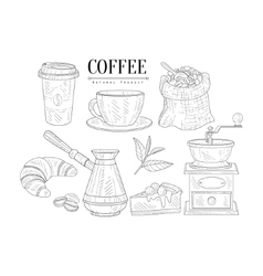 Coffee related object and food set hand drawn vector