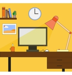 Working space with computer lamp picture watch vector