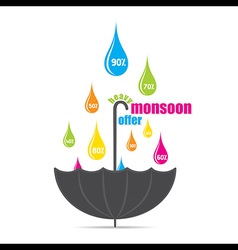 Heavy monsoon offer promotional banner design vec vector