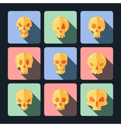 Skull icon set in a flat style vector