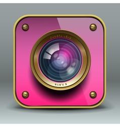 Pink photo camera icon vector