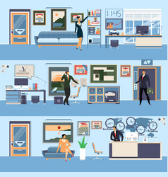 Modern office workspace set in flat style vector