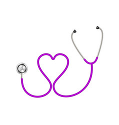 Stethoscope in shape of heart in purple design vector