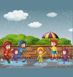 Many children running in the rain vector