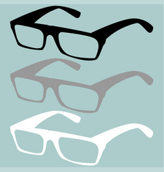 Spectacles black grey white colour vector