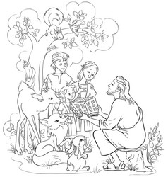 jesus reading the bible to children and animals vector image