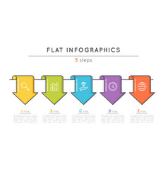 Flat style 5 steps timeline infographic template vector
