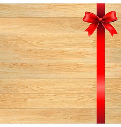 Red Bow And Blank Gift Tag With Wooden Wall vector image