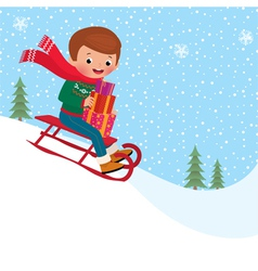 Child sledding vector