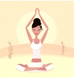 Yoga asian girl vector