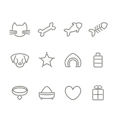 Pets line icons set vector