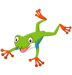 Cute cartoon leaping frog vector