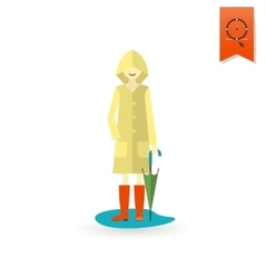 Woman with umbrella and raincoat on the puddle vector
