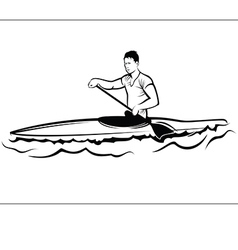 Man in a kayak vector