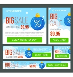 Big half price and one day sale banners vector
