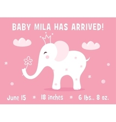 White baby elephant birth announcement card vector