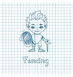 Sketch boy fencer vector