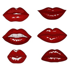 Collection of hand drawn red lips vector