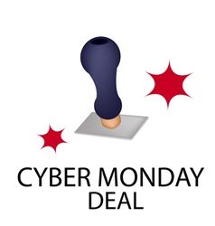 A rubber stamp with word cyber monday deal vector