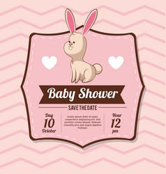 Baby shower card invitation with bunny heart vector