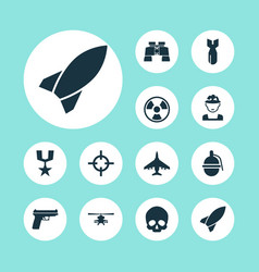Battle icons set collection of dangerous vector