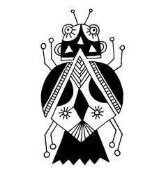 black and white handmade liner drawing of ethnic vector image