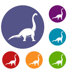 brachiosaurus dinosaur icons set vector image