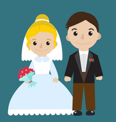 Bride and groom icon characters flat style vector