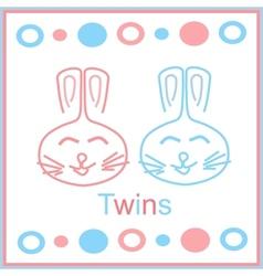 bunny twins vector image vector image