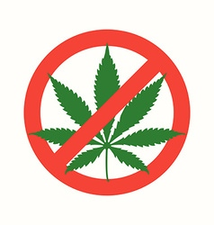 Cannabis marijuana flat prohibited icon vector