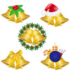 christmas bells set icons vector image vector image