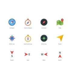 Compass and map colored icons on white background vector image