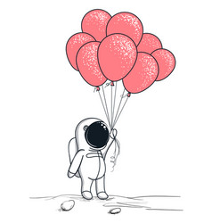 Cute astronaut keeps red balloons vector