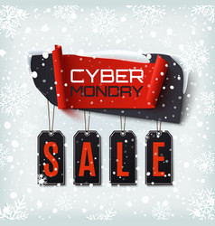 cyber monday sale abstract banner on winter vector image vector image
