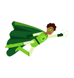 ecological black superhero man in green costume vector image vector image