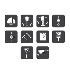 Flat color construction icon set vector