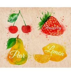 Fruit watercolor cherry lemon strawberry pear in vector