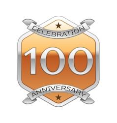 Hundred years anniversary celebration silver logo vector