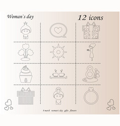 I love you womens doodle 12 icon in set of womens vector