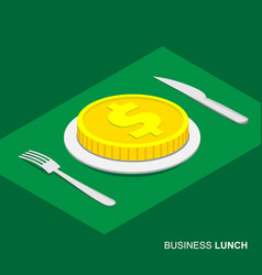 Isometric 3d coin with dollar sign on plate vector
