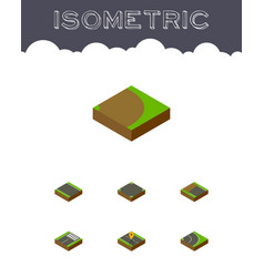 Isometric road set of asphalt navigation vector