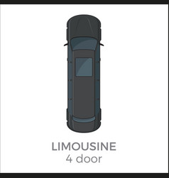 Limousine top view flat icon vector