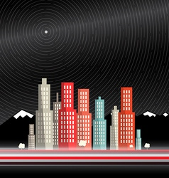 Long time exposure abstract city with mountains vector