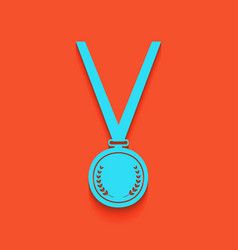 Medal simple sign whitish icon on brick vector