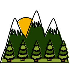 mountains and forest landscape vector image vector image