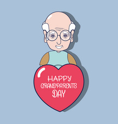 Old man with glasses and heart with message vector