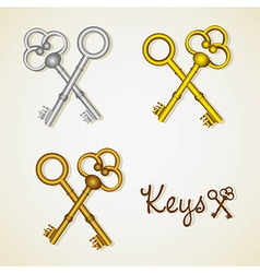 set of old keys gold and silver vector image