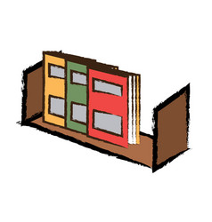 Shelf with books icon vector
