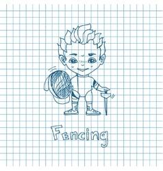 Sketch Boy Fencer vector image